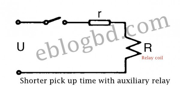 shorter pickup time of auxiliary relay